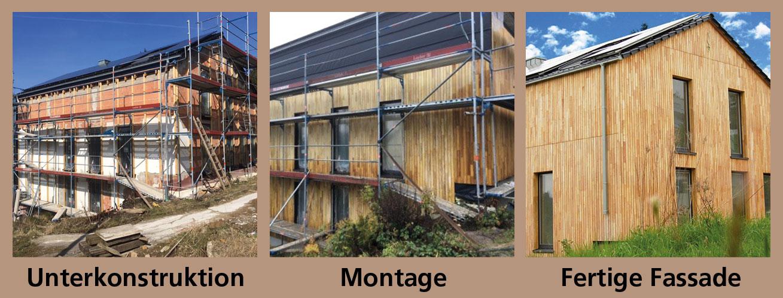 Montage einer Robinienfassade / Akazienholz Fassade