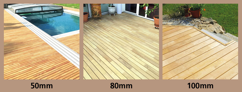 Vergleich von verschiedenen Breiten von Terrassenholz aus Akazie